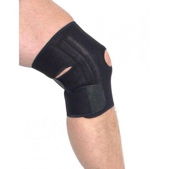 EyezOff Neoprene Knee Support Strap with Easy Closing, One Size, Black (Open Patella) Image
