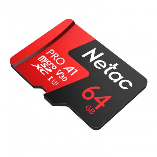 64GB Netac P500 Pro microSDXC CL10 UHS-I U3 V30 A1 Memory Card w/ SD Adapter Image