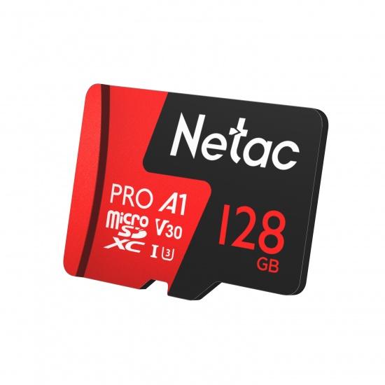 128GB Netac P500 Pro microSDXC CL10 UHS-I U3 V30 A1 Memory Card w/ SD Adapter Image