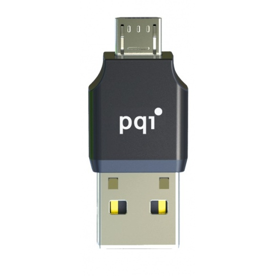 PQI Connect 203 Black micro USB +USB2.0 OTG microSD Reader for Android Devices Image