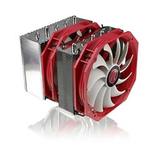 RAIJINTEK 140MM Tisis Processor Dual Cooler Fans 1000RPM 70.2CFM 23dBA Red Metallic Image