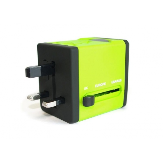 Rainbow Series Worldwide Travel Power Adapter with 2 USB ports (5V / 2.1A) - Green Edition Image