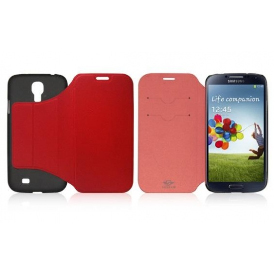 Red Flip Case for Samsung Galaxy S4 with sleep/wake function Image