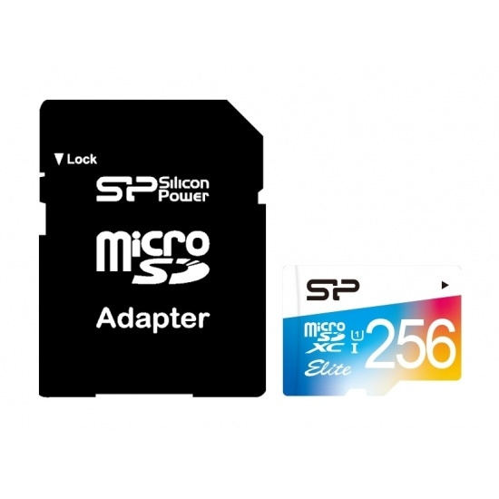 256GB Silicon Power Elite microSDXC CL10 UHS-1 85MB/sec Colorful Memory Card With Adapter Image