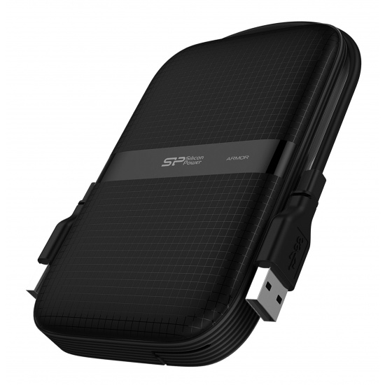 2TB Silicon Power Armor A60 Shockproof Portable Hard Drive - USB3.2 - All-Black Edition Image
