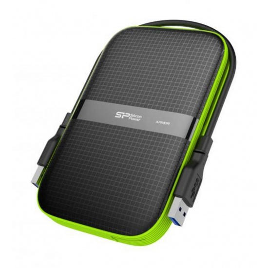 5TB Silicon Power Armor A60 Shockproof Portable Hard Drive - USB3.0 - Black/Green Edition Image