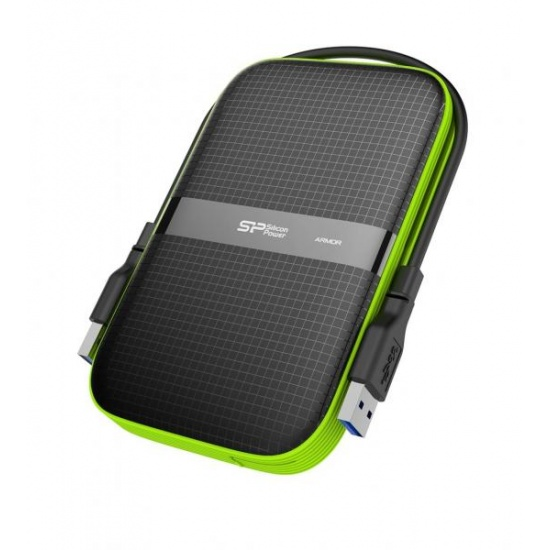 2TB Silicon Power Armor A60 Shockproof Portable Hard Drive - USB3.0 - Black/Green Edition Image