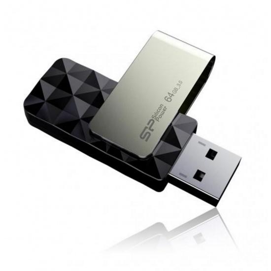 64GB Silicon Power B30 Blaze USB3.0 Flash Drive Swivel Style Black Image