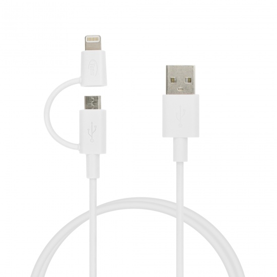 Team 2-in-1 Lightning And Micro USB Charging and Sync Cable White 100cm (WC02) Image