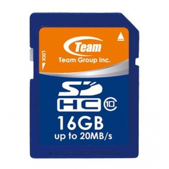 16GB Team SDHC CL10 Memory Card (read speed up to 20MB/sec) Image