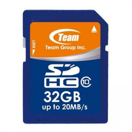 32GB Team SDHC CL10 Memory Card (read speed up to 20MB/sec) Image