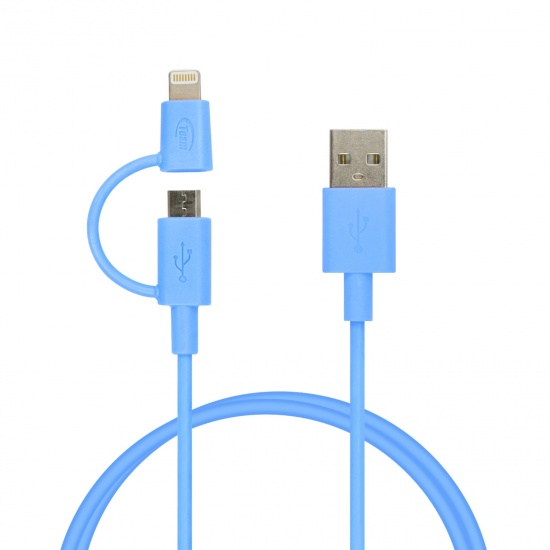 Team 2-in-1 Lightning And Micro USB Charging and Sync Cable Blue 100cm (WC02) Image