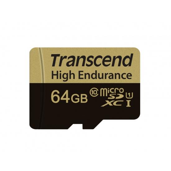 64GB Transcend High Endurance MicroSDXC Card CL10 w/SD Adapter Image
