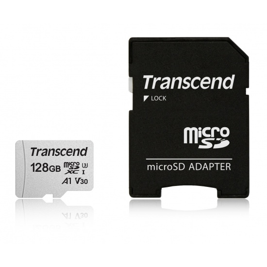 128GB Transcend 300S microSDXC UHS-I U3 V30 A1 CL10 Memory Card with SD Adapter 95MB/sec Image
