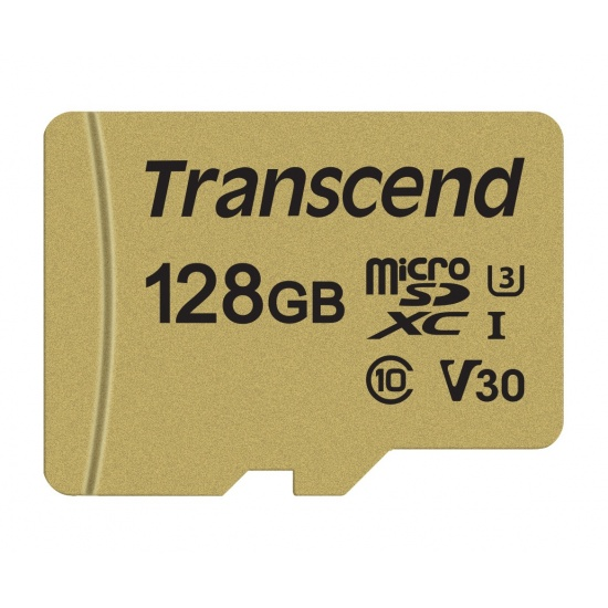 128GB Transcend 500S microSDXC UHS-I U3 V30 CL10 Memory Card with SD Adapter 95MB/sec Image