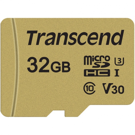32GB Transcend microSD 500S UHS-I V30 - Speed up to 95MB/sec - With SD Adapter Image