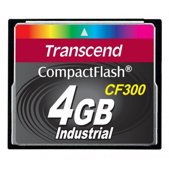4GB Transcend CF 300X Speed SLC Industrial CompactFlash Memory Card Image
