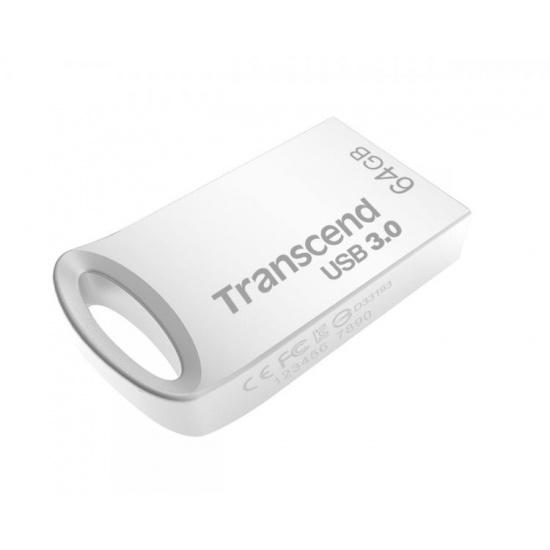 64GB Transcend JetFlash 710S Silver Metallic USB3.0 Flash Drive Image