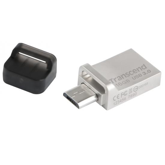 16GB Transcend Jetflash 880S OTG USB3.0 Flash Drive - Silver Edition Image