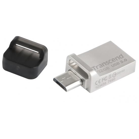 32GB Transcend Jetflash 880S OTG USB3.0 Flash Drive - Silver Edition Image