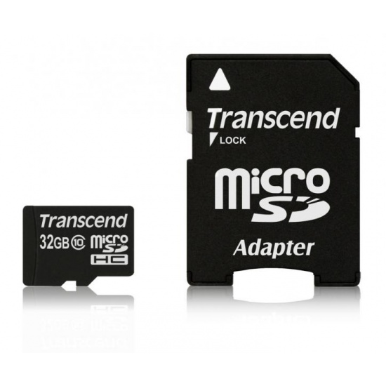 32GB Transcend microSDHC CL10 high-speed memory card with SD adapter Image