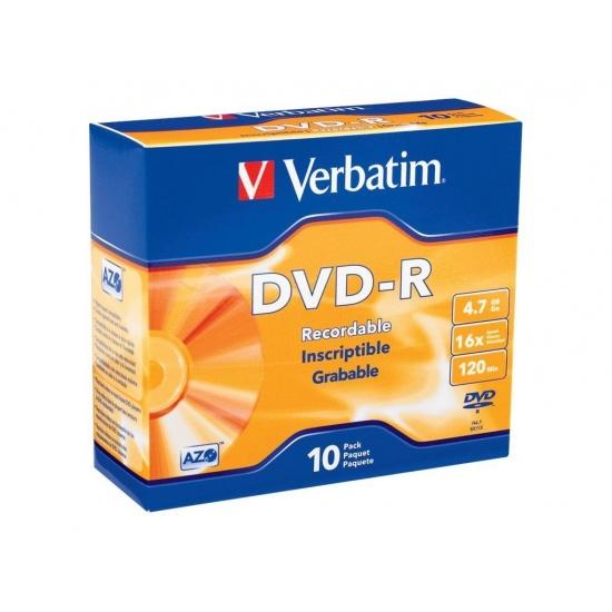 Verbatim AZO DVD-R 4.7GB 16X Branded 10-Pack Slim Jewel Case  Image