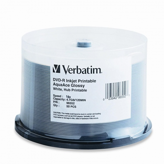 Verbatim DVD-R 4.7GB AquaAce White Glossy Inkjet 50-Pack Spindle Image
