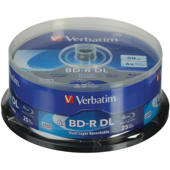 Verbatim Blu-Ray BD-R DL 98356 50GB 6X 25-Pack Spindle Image