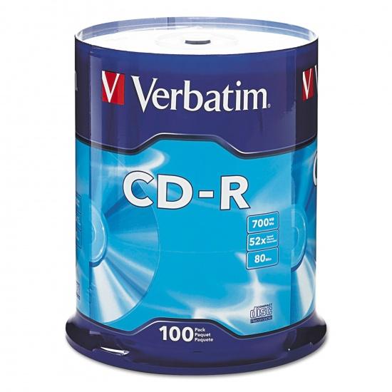 Verbatim 52x CD-R Media 700MB 100-Pack Spindle Image