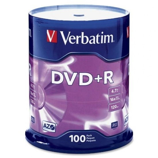 Verbatim DataLifePlus DVD+R 16x Media 4.7GB 100-Pack Spindle Image