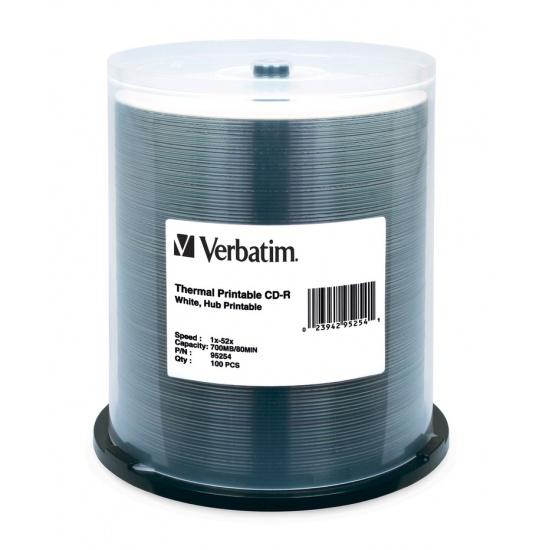 Verbatim White Thermal Printable CD-R 52x Media 700MB 100-Pack Spindle Image