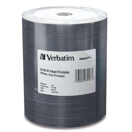 Verbatim DVD-R 4.7GB 16X DataLifePlus White Inkjet 100-Pack Tape Wrap Image