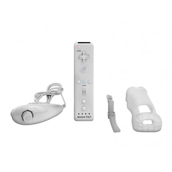 White Nintendo Wii Remote Control Motion Plus Bundle with Nunchuk, Silicon Case, Wrist Strap Image