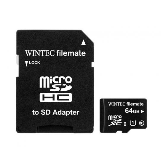 64GB Wintec microSDXC Professional Plus UHS-I CL10 Mobile Phone Memory Card w/Adapter Image