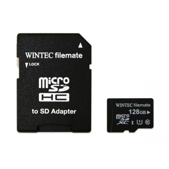 128GB Wintec microSDXC Professional Plus UHS-I CL10 Mobile Phone Memory Card w/Adapter Image