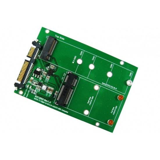 ZTC 2-in-1 Thunder Board M.2 (NGFF) or mSATA SSD to SATA III Adapter Board Image