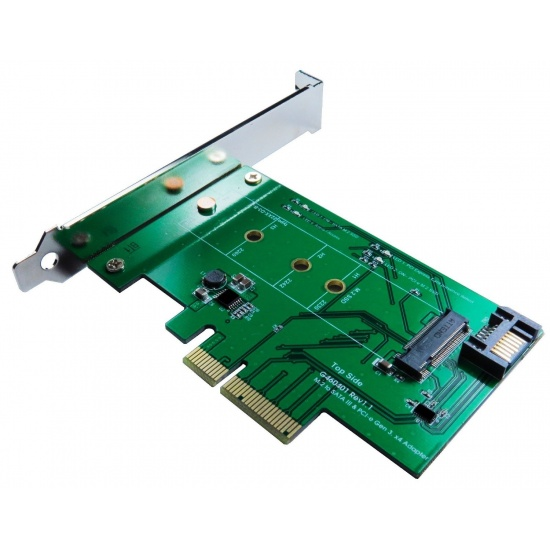 ZTC Lightning Card M.2 NGFF SSD (PCIe 2 and 4 Lane or SATA III Type) To PCI-e or SATA III Internal Card Model ZTC-EX001 Image